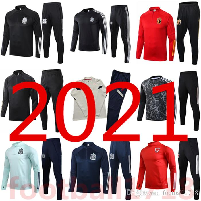 2021 France Spain soccer Tracksuit Long sleeve chandal futbol 20 21 Argentina Belgium football Training suit KANE WERNER tracksuit