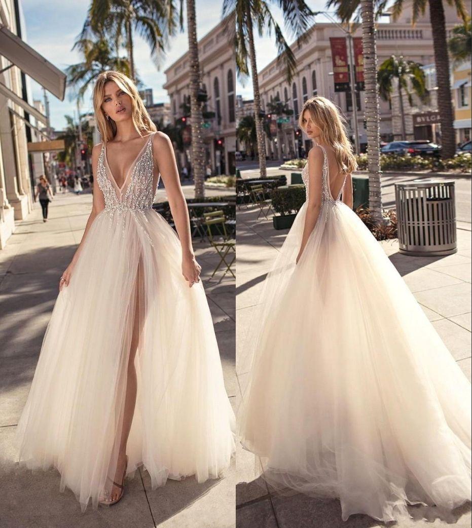 Sexy V-Ausschnitt Split-Abend-Kleider Tiefer Ausschnitt Kristallabendkleider nach Maß Tulle-Abend-Partei-Kleid Backless Partei-Kleider