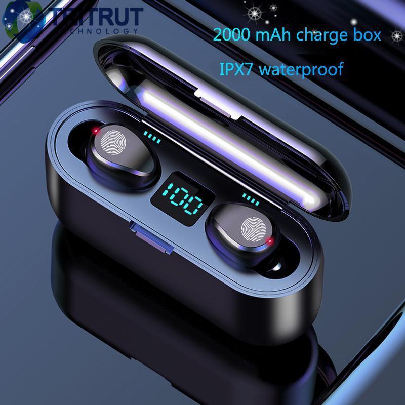 F9 Беспроводные наушники Bluetooth V5.0 Earbuds Bluetooth Наушники Светодиодный дисплей с гарнитурой Power Power 2000MAH с микрофоном MQ30