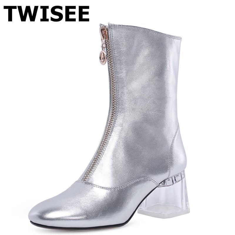 donne Mid stivali polpaccio nuove zapatos stile mujer Pompe punta rotonda moda tacchi quadrati donna scarpe casual decorazione comodità in metallo