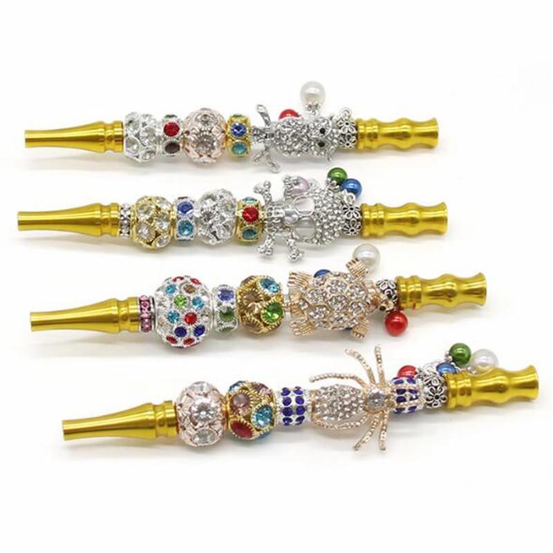 Nouveau Crâne d'animal d'or Bandeau 2020 Pipes Sparkly fumer Cristal indien Pendentif long tuyau Portable Pipe Métal amovible