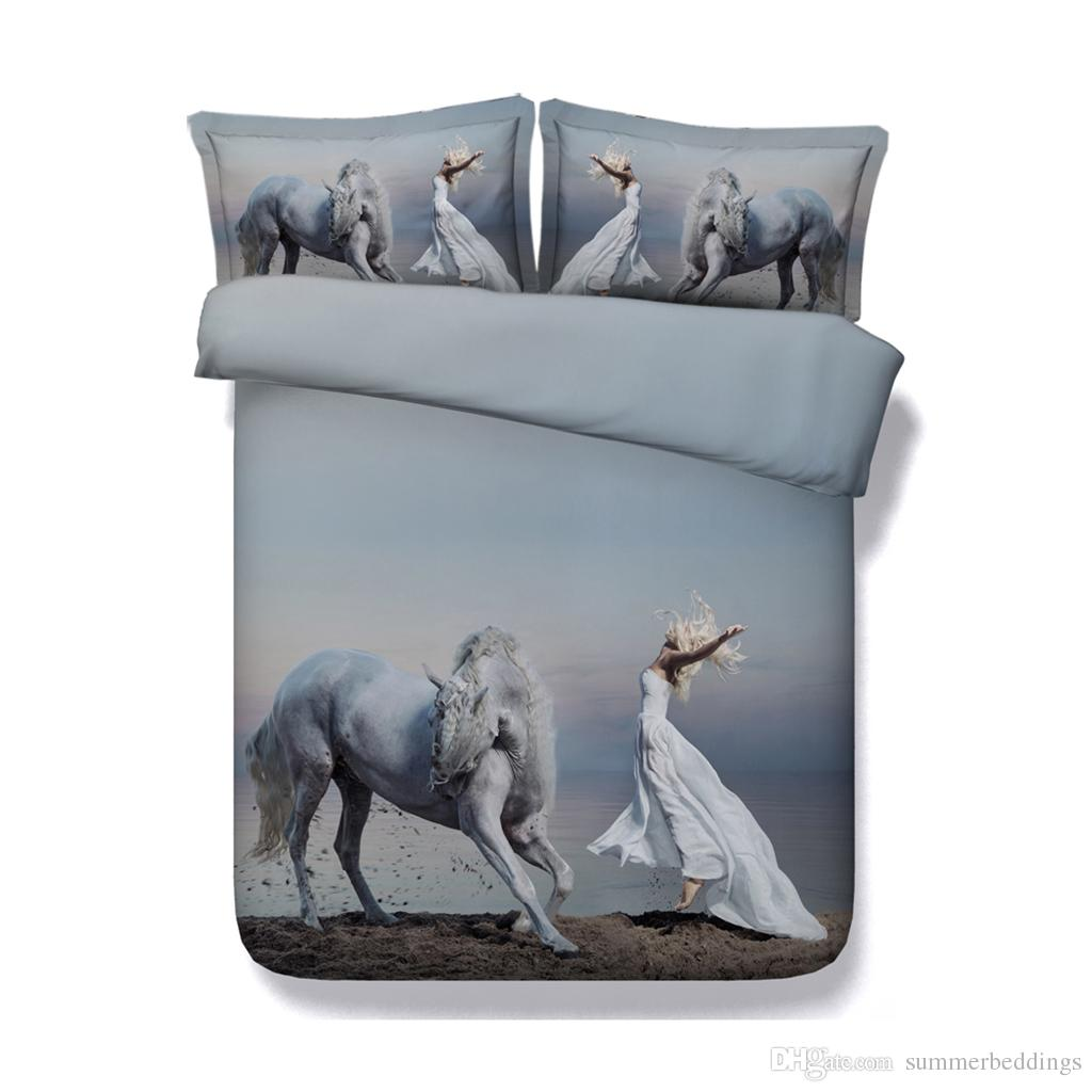 Animal duvet Ocean Coverlet Bedspread Horse Bedding Sets 3 Pieces Duvet Cover With 2 Pillow Shams Bed Cover Women Girl Quilt Comforter Cover