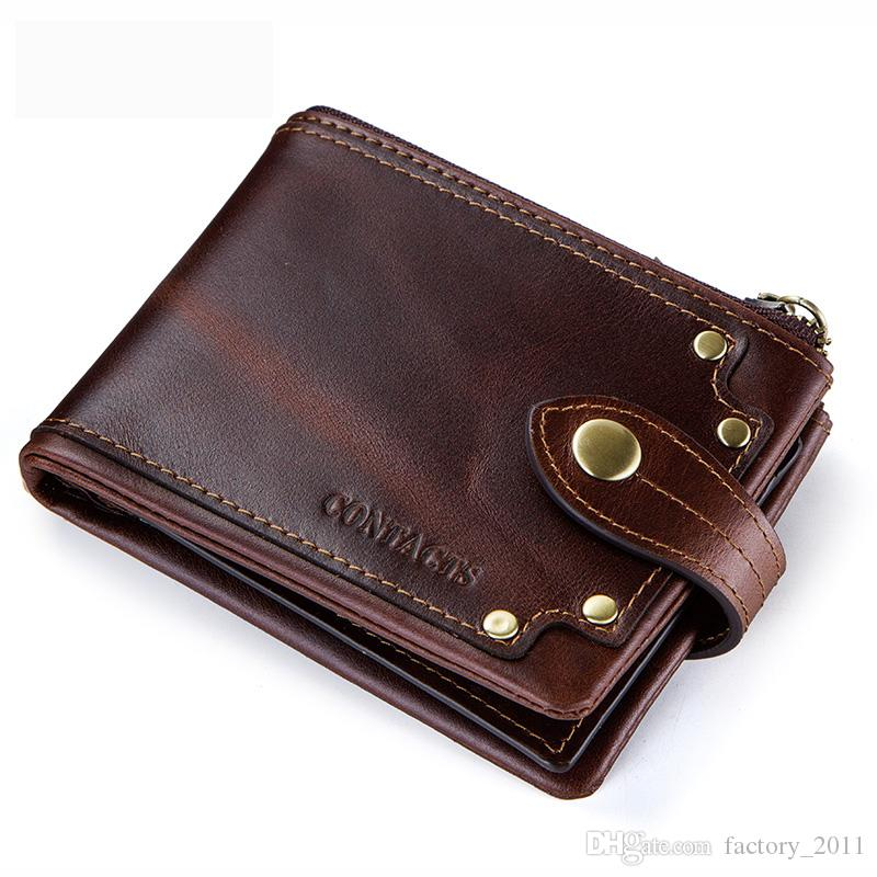 미친 말 소 가죽 진짜 남성 지갑 짧은 남성 지갑 트리플 접는 카드 홀더 남성 Carteira 지퍼 패션 돈 클립 M2168