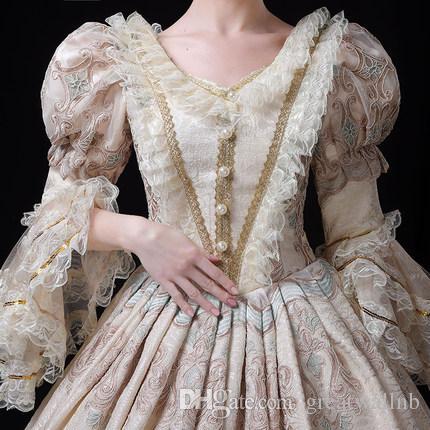 100% реальный свет шампанское кружева бисером старинные роскошные рококо королева бальное платье Средневековое платье ренессансное платье викторианской Belle Ball