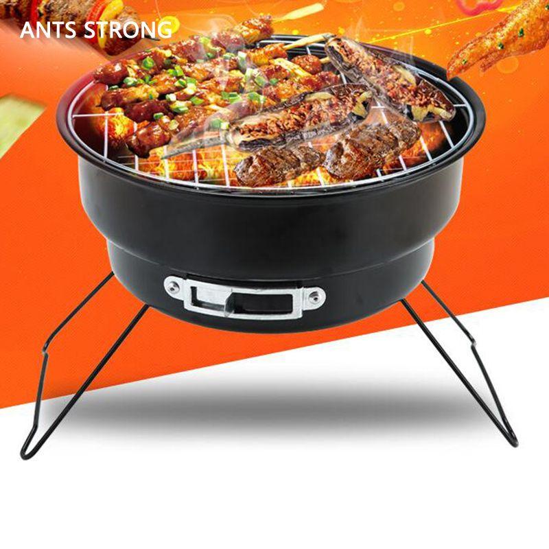 ANTS FORTE pliage de charbon portable barbecue / camping familial en plein air cuisine poêle petit rôti type rond barbecue brasero