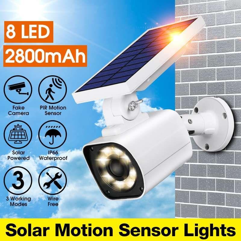 가짜 IP 카메라 태양 전원 램프 야외 시뮬레이션 더미 카메라 방수 태양 유도 정원 빛 벽 빛 (8) LED