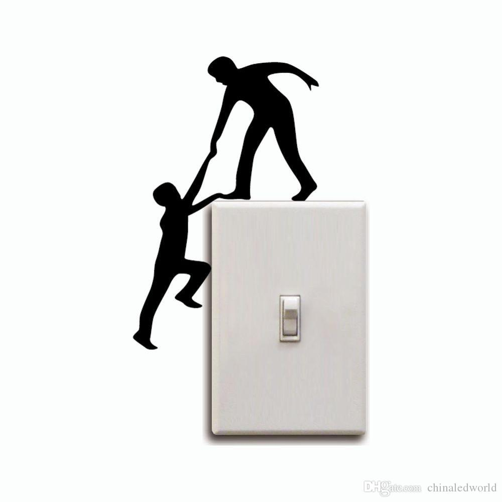DSU Creative Climbing Light Switch Sticker Funny Helping Hands Wall Decal