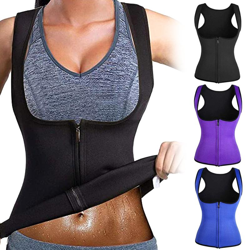 Жилет корсет Фитнес Body Shaper Женщина талия тренер тренировка для похудения Топы Женщины Zip Спорт Vest HB88