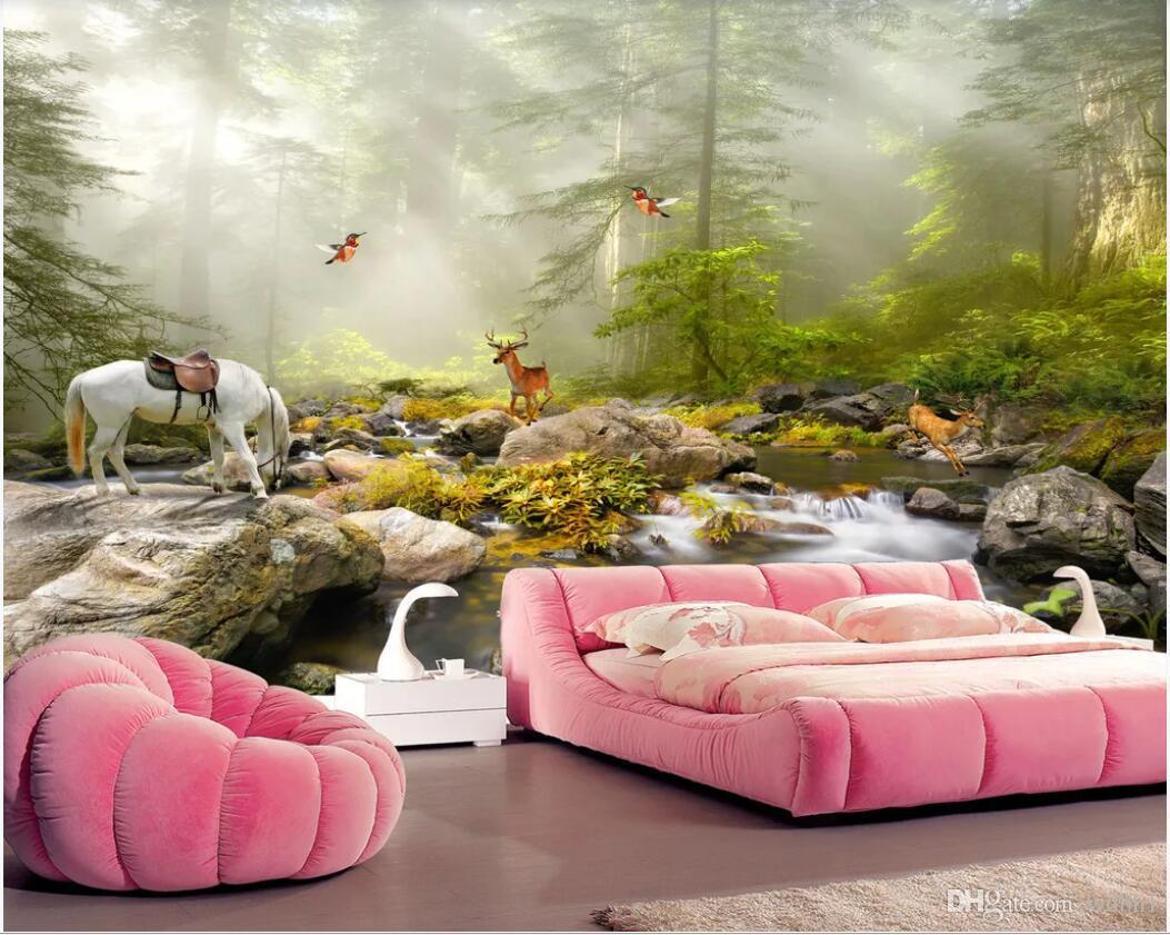 3D wallpaper de la habitación personalizado foto mural Artístico paisaje temprano en la mañana belleza original paisaje de montaña pintura papel tapiz para paredes 3 d