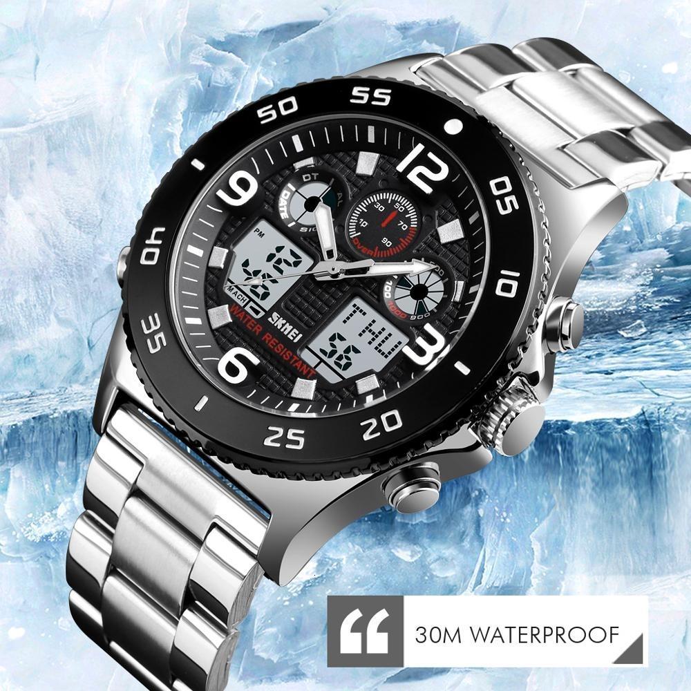 SKMEI Geschäfts-Uhr-Mann-Armbanduhr-Quarz-Dual-Display-Uhr-Art und Weise beiläufige 3 Zeit wasserdichte Stoppuhr Uhr Relogio Masculino CJ191213