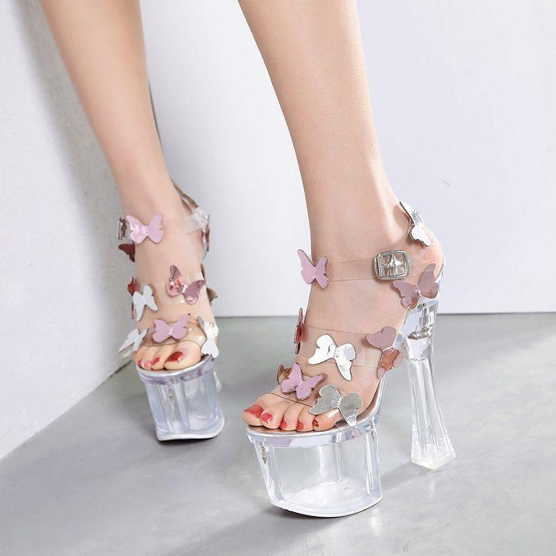 Seksi ultra yüksek topuklu 18Ccm şeffaf PVC kristal kelebek sandalet kalın topuk 8 cm platformu gelin yaz düğün ayakkabıları