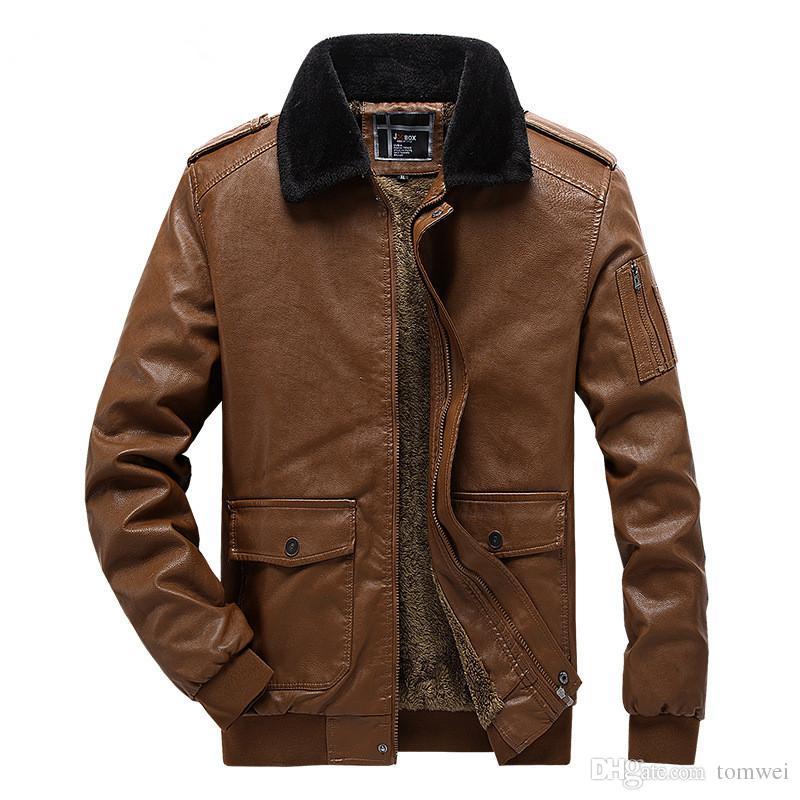 Mens hiver manteaux de fourrure automne coupe-vent vestes Faux cuir vestes Casual Tops épais manteau chaud style coréen 2019 grandes tailles EU S-XXL