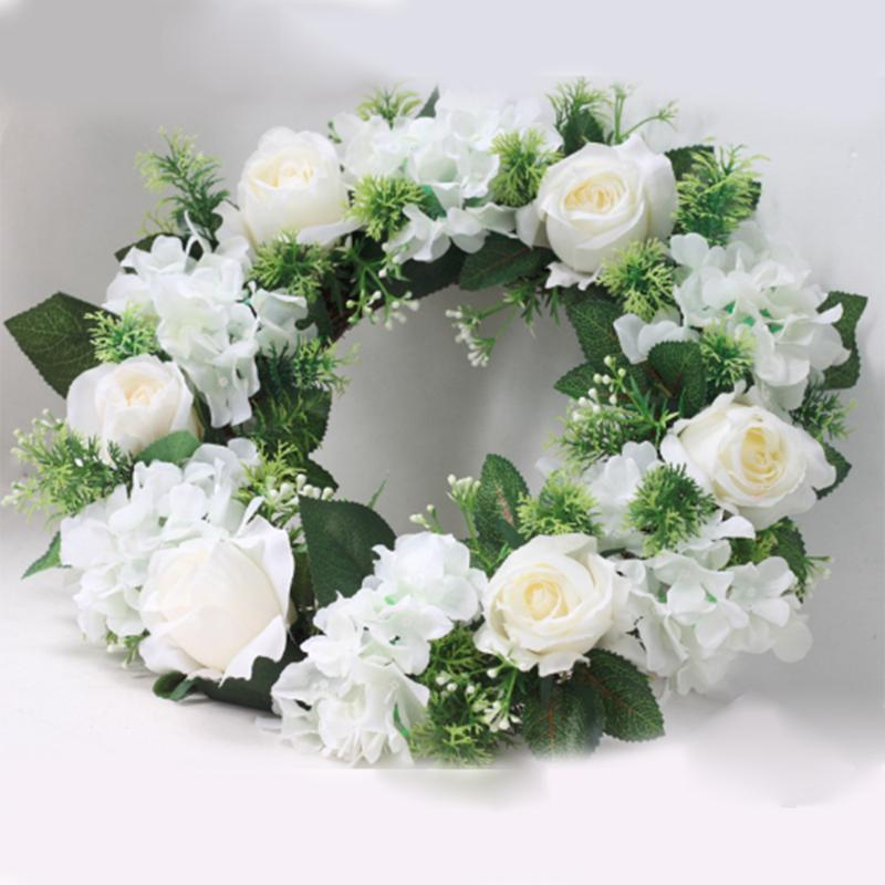 38 / 42cm Recepción de boda de la puerta de la flor artificial de la guirnalda con hojas verdes puerta de la guirnalda de la decoración del hogar de flores Coronas Apr6