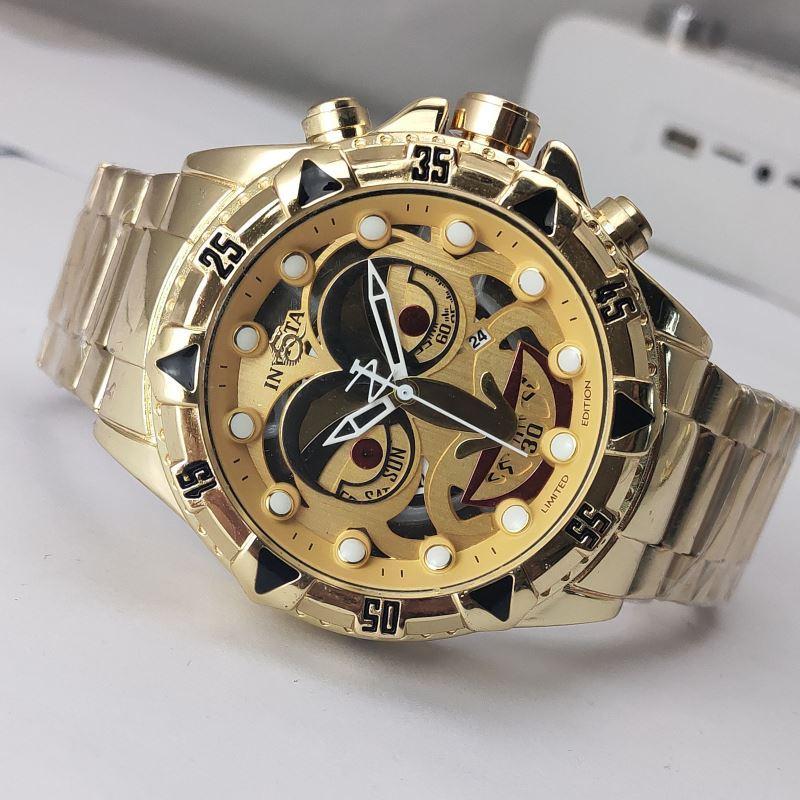 حار بيع الرجال نوعية جيدة نكتة lNVICTA GOLD مشاهدة الفولاذ المقاوم للصدأ حزام الرجال ووتش المعصم كوارتز relogies للرجال relojes أفضل هدية