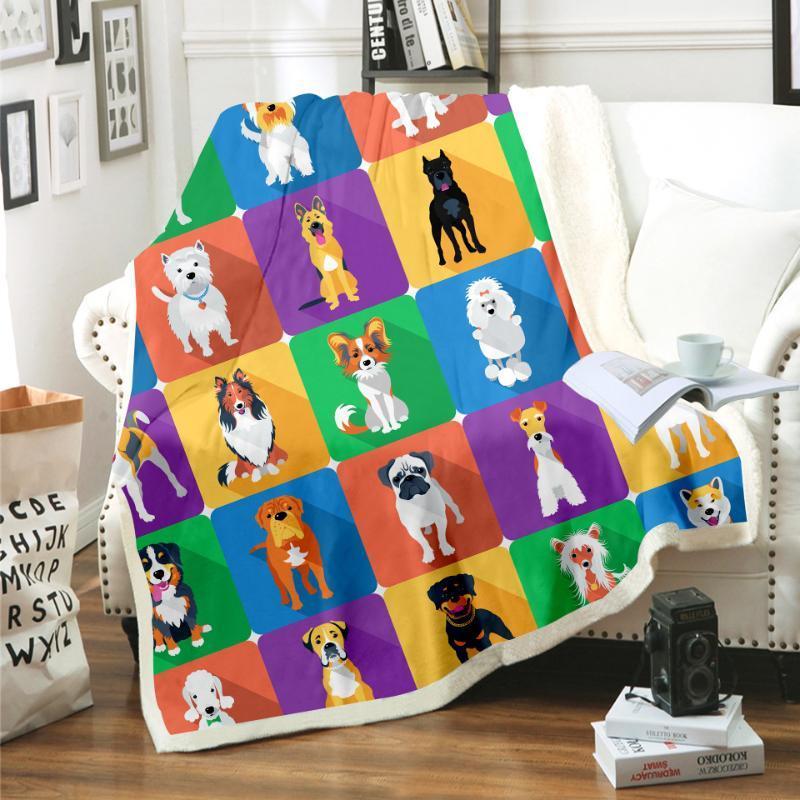 Manta del gato del perro de animal de impresión en 3D Sherpa manta en la cama de los niños del florista de textiles para el hogar de ensue Estilo 02