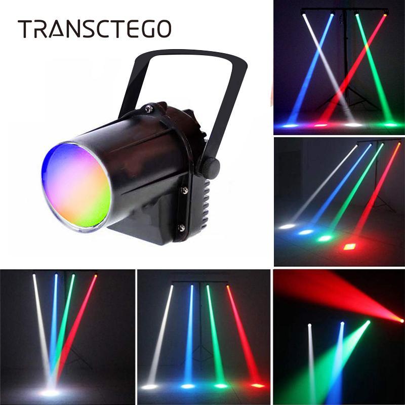 LED Disco Luz Proyector Pinspot 5W RGBW Proyector de lluvia de haz estrecho Par Luz de escenario Lámpara de cabeza móvil Bolas de vidrio Bar Lámpara de fiesta