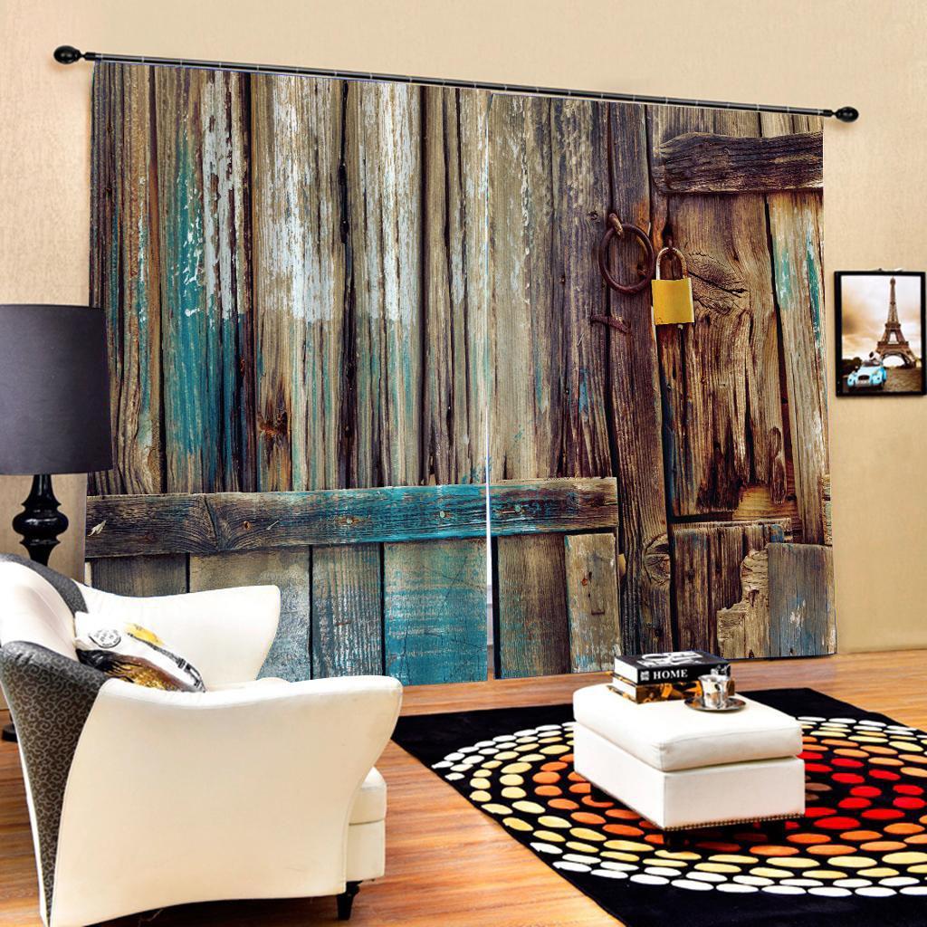 madeiras cortinas Blackout cortina de luxo conjunto 3D Cortinas para quarto cama sala Office Hotel Home Recados Drape decorativa