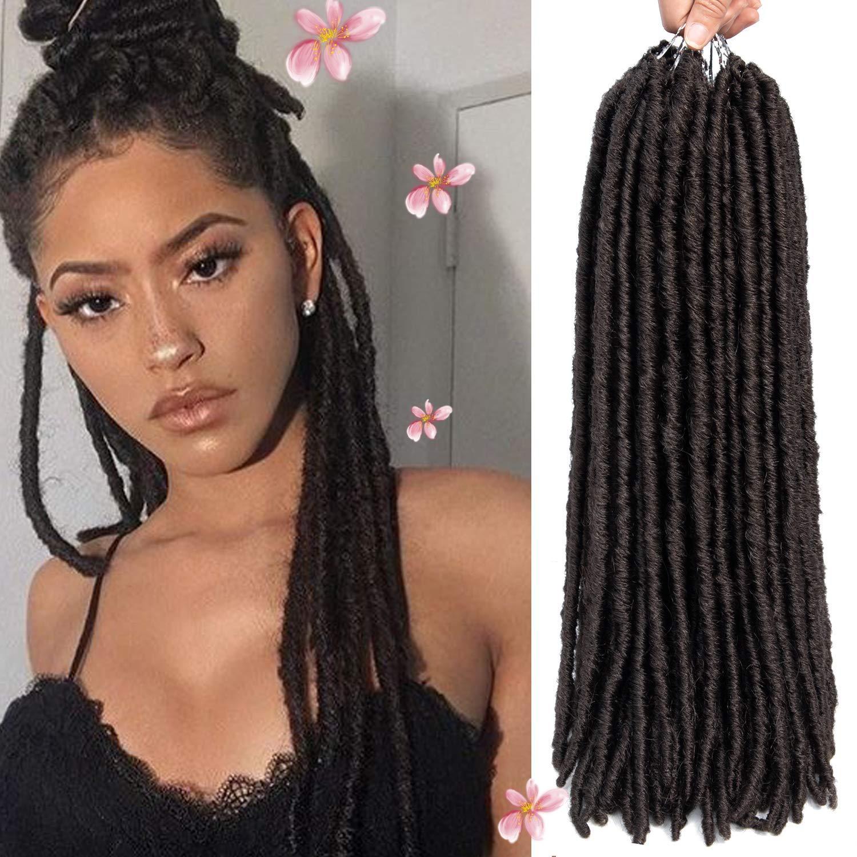 """Chaud! 6 packs droites Faux Locs Crochet cheveux Dreadlocks Crochet tresses droites déesse Déesse Twist tressage Extensions de cheveux (18 """"-6pack, 4 #)"""