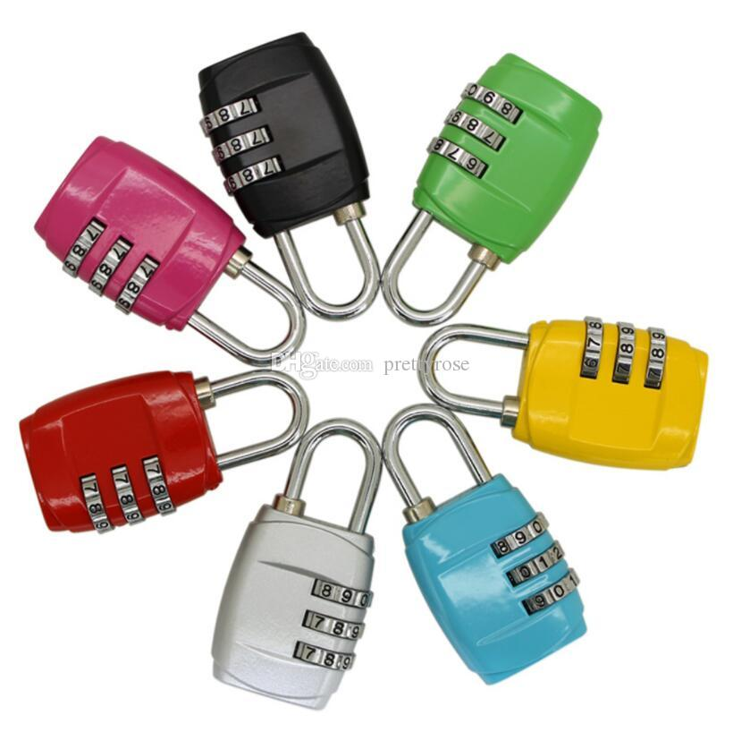 Portable 3 Digit Combination Padlock TSA Lock Luggage Suitcase Travel Bag Code Lock Black red yellow blue Alloy Combination Lock 8 colors