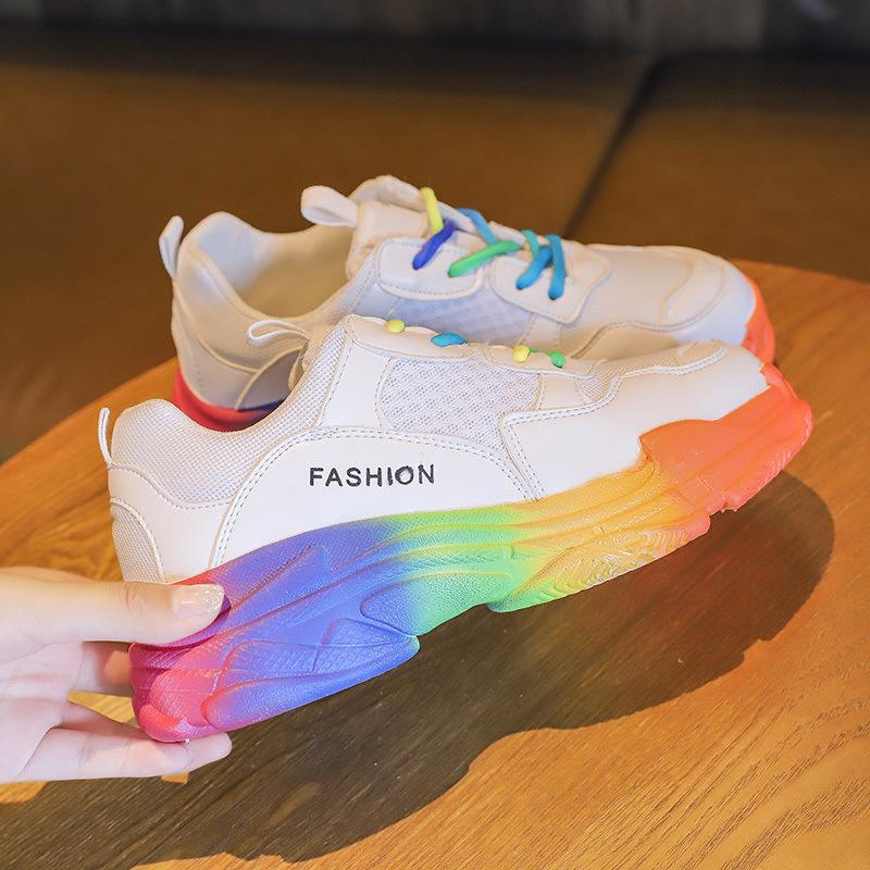 النساء vulcanize أحذية rainbow مكتنزة أحذية رياضية منصة أحذية النساء الأحذية شبكة المرأة عارضة الأحذية عارضة حذاء رياضة الإناث