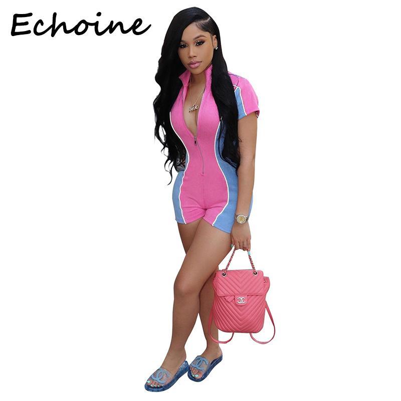 Versión Echoine Sexy Body reflectante noche Color remiendo cortocircuito de la cremallera de las mujeres de los mamelucos del mono Monos de mujer Y19071801