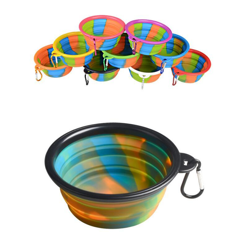 DHL Camouflage Silicone Folding Bowl with hook Pet Feeding Bowl Dog Cat Travel Collapsible Water Dish Feeder Foldable Outdoor Supplies NN