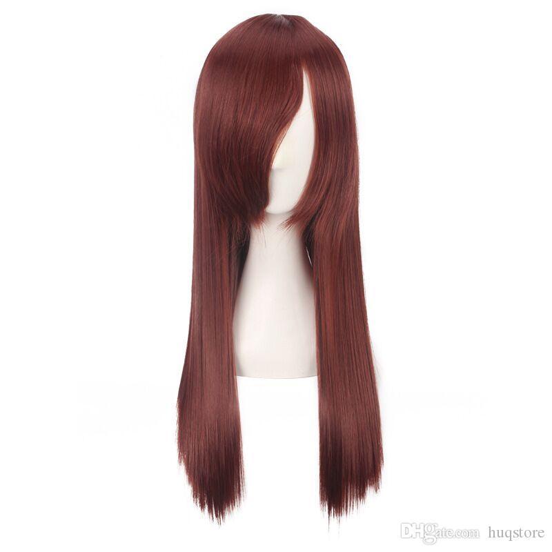 60 centímetros Anime Cosplay Perucas 6 cores reta longa partido Cos peruca de cabelo Perucas Produtos Universal Atacado