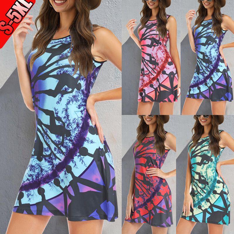 Mode femmes de robe 2020 nouveau européen et américain d'été en trois dimensions impression robe 4 couleurs Taille S-5XL