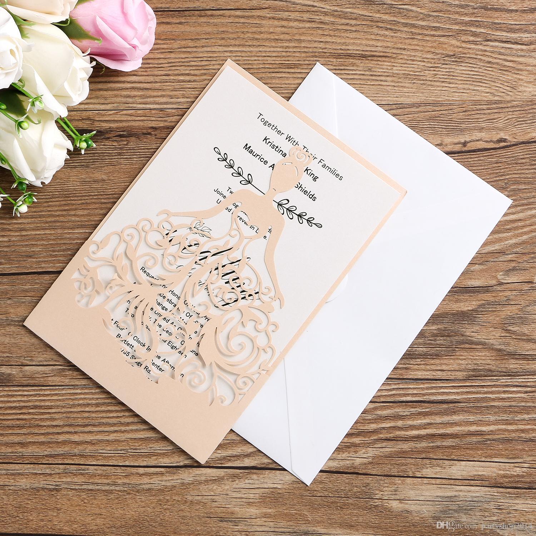 Wedding Invitation Card 25PCS/Lot Bride Elegant Envelope, Inner Page, Cover 3PCS/Set Laser Cut Hollow Invitations Cards Light Pink Cover