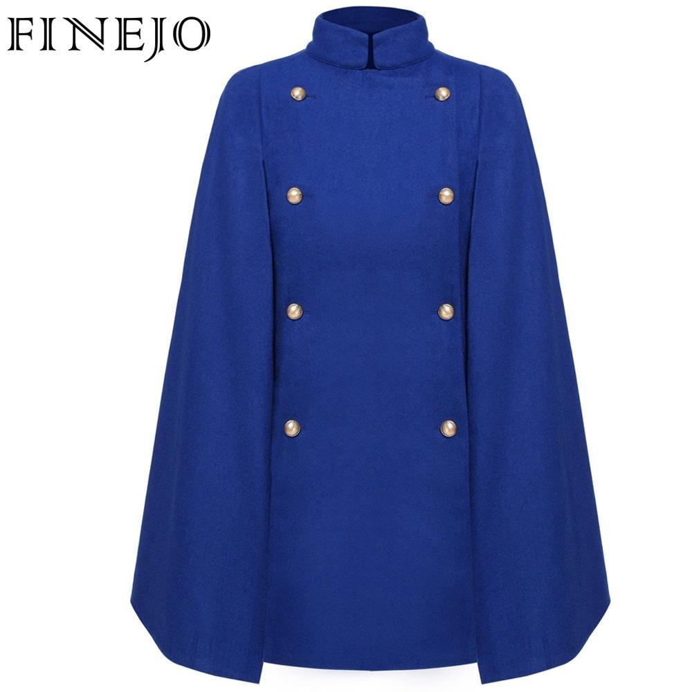 FINEJO Women's Winter Jackets and Coats Double-breasted Elegant Warm Women Woolen Coat Thicken Long Plus Size Cloak Coat S-XXL