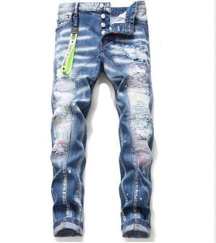New Style Brand D2 Men jeans Denim Jean Embroidery Tiger Pants Holes D2 Jeans Zipper Men Pants Trousers skinnydsquared2 jeans men c6fe#
