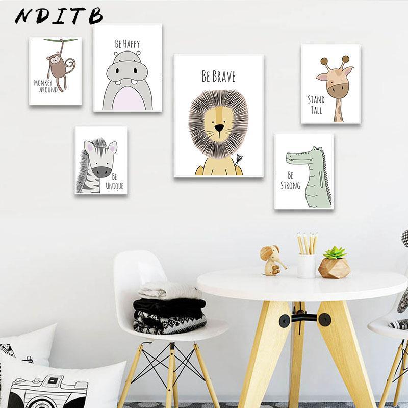 Stampa scuola materna del bambino Wall Art Poster Zebra leone della tela di canapa di arte della parete Pittura Animale Decorative Picture Nordic Bambini Decorazione Camera