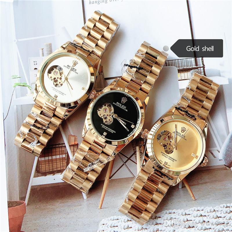 Luxuxmänner Designer Black Watch automatische Voll Edelstahl Original-Gleitschnalle Gem Military beiläufige Uhr