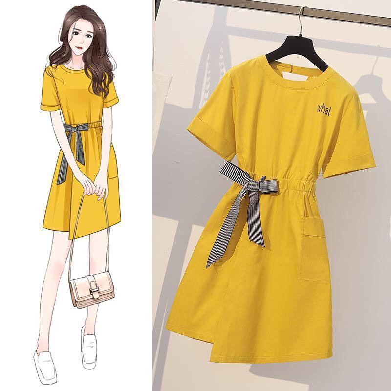 2020 Mesdames été robe couleur unie avec le costume Bow Pour Fat MM Casual Robe droite style taille élastique mince 4XL