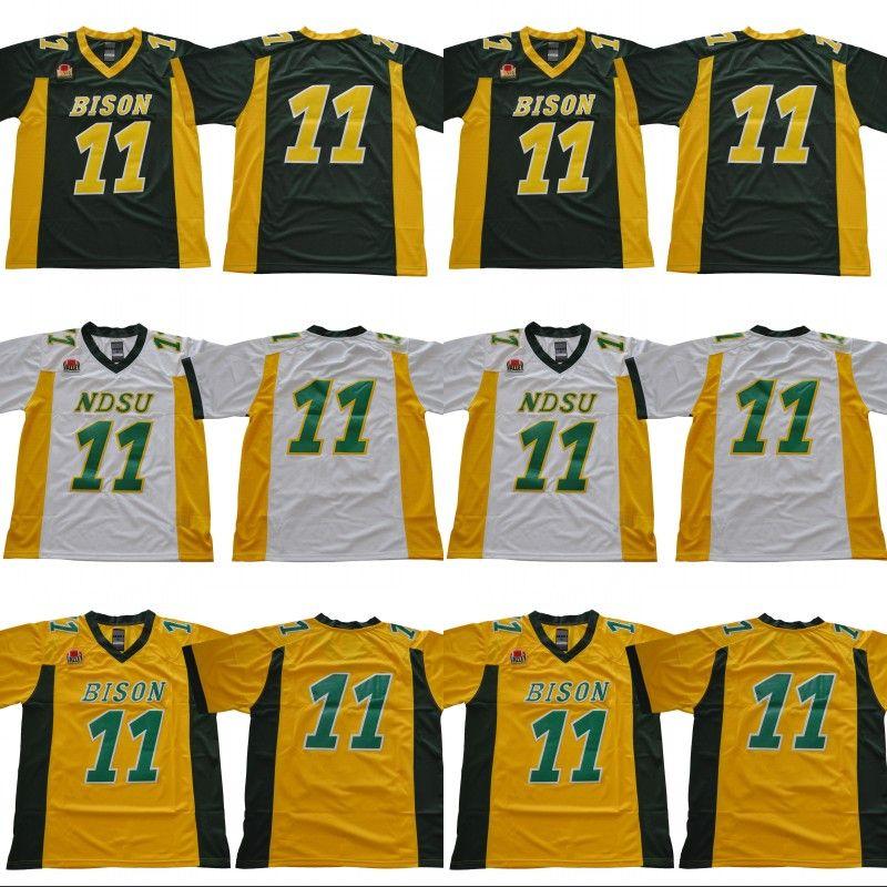 sale retailer 24dbf 9831c 2019 2018 North Dakota State Bison NDSU 11 Carson Wentz North Dakota State  College University Team Green Yellow White University Football Jerseys From  ...