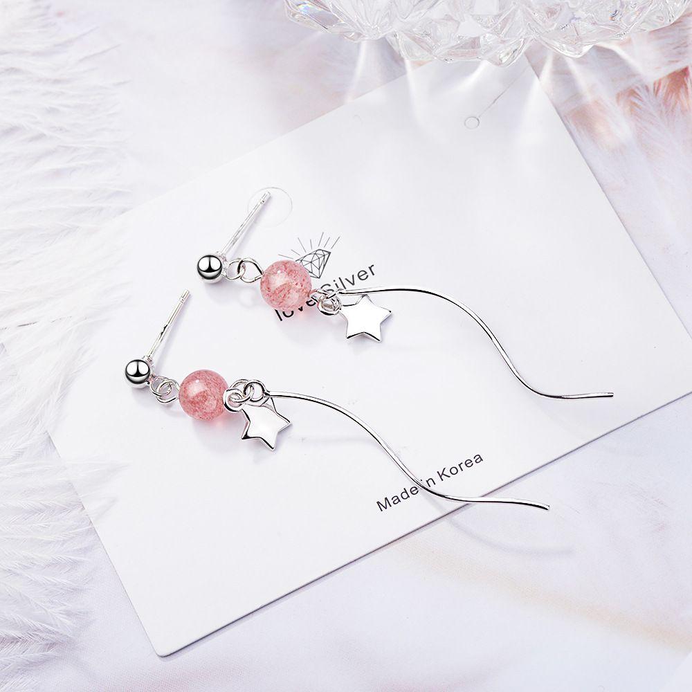 X cristalina de la fresa de la Oreja Pendientes de Womens Super pendientes Hada temperamento onda larga de cable rosa cristal estrella de cinco puntas Reclutar Peac