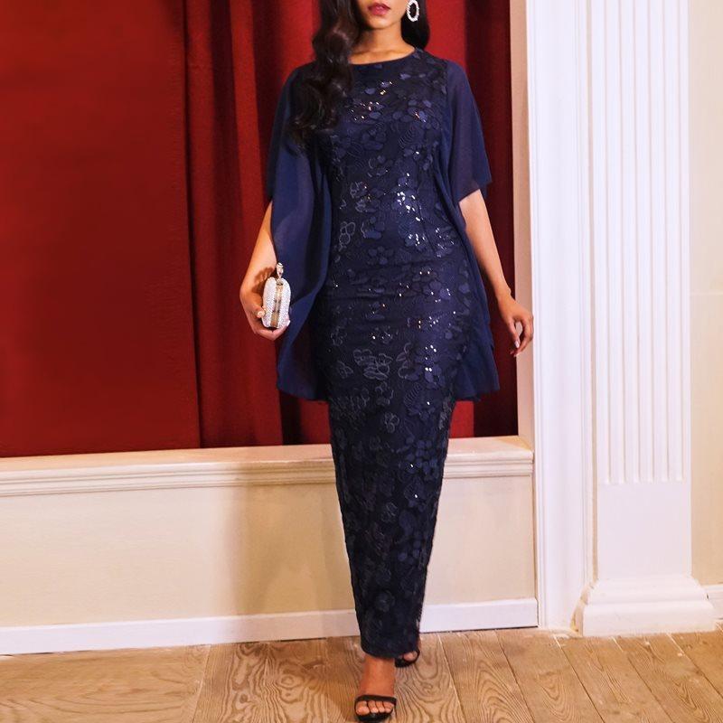 Parti Şık Uzun Kalem Elbise Vintage Mavi Ofis Lady Yaz Büyük Beden Kadınlar Sıkı Retro Pullarda Mesh Vintage Maxi Elbise T200627