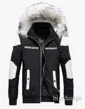 Новые модные меховые самцы толстые цвета мужская куртка высокое длительное зимнее пальто хлопковое воротник халат качества с капюшоном меховой воротник 3 разрез панели M-2 Usna