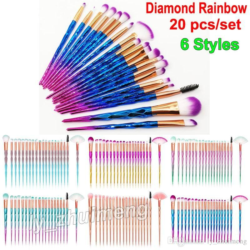 Diamond Makeup Brushes Set 3D Colorful Professional Brushes Lip Brush Foundation Blush Cosmetic Brushes Set Eyeliner 20pcs Kit Rose Gold