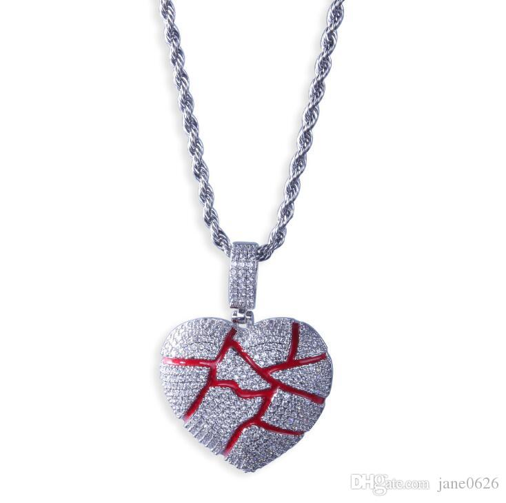 Euro-American hip-hop broken heart-broken shape pendant Roke Heart is full of zircon necklaces for couples free shipping
