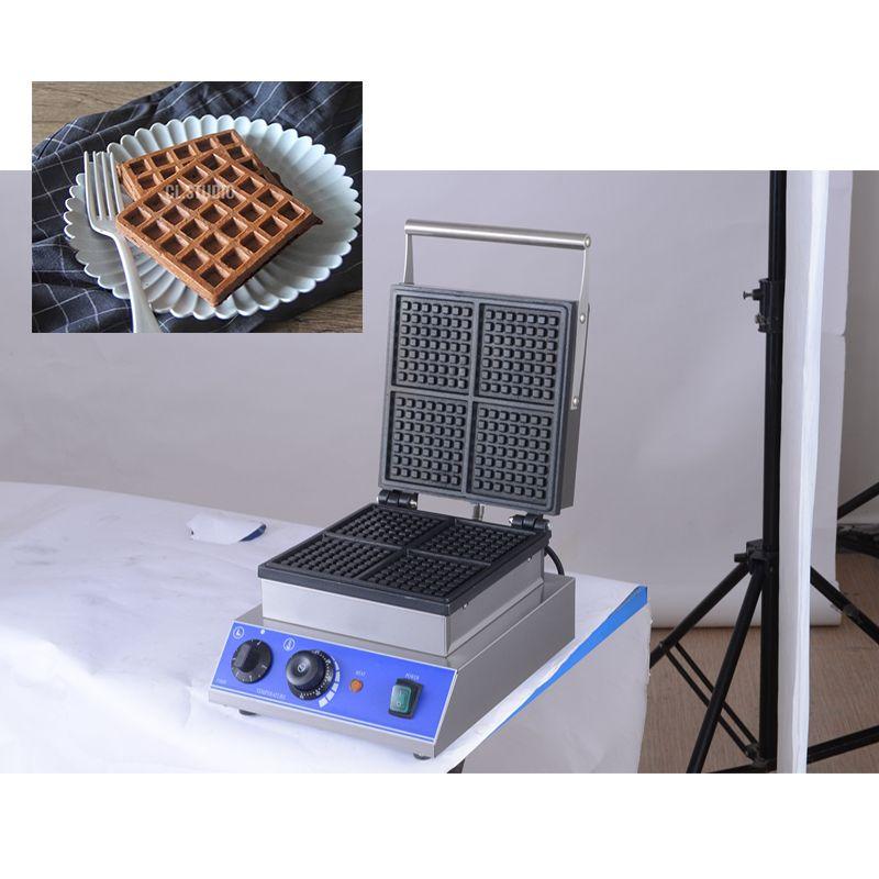 Maker Commercial Rectangle Waffle machine 220 V 110V 4PCS Beligian Waffle pain Fer Pan Plate Équipements Cuisinière