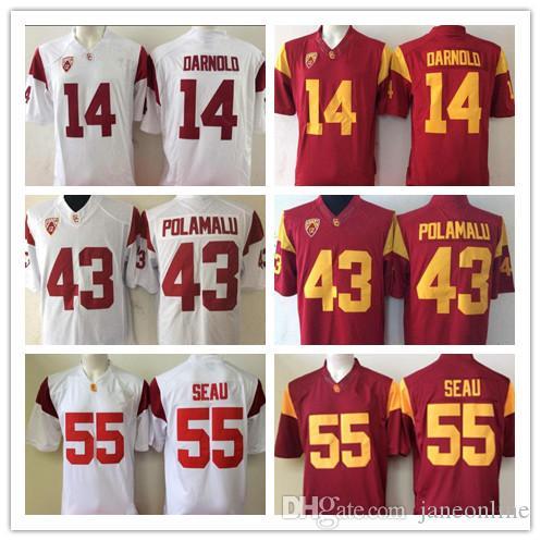 NCAA USC Trojans #14 Sam Darnold 43 Troy Polamalu 55 Junior Seau Red White Stitched Limited College Football Jerseys Wear