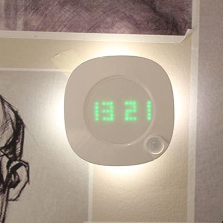 Imán Lámpara de pared del sensor de movimiento PIR LED de luz nocturna de interior con reloj de tiempo para el baño dormitorio Corredor Decoración de pared de luz Vanidad RW235