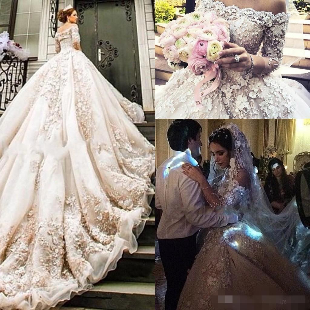 2020 Luxury Ballgown Abiti da sposa 3D Applique floreale ricamo spalle in rilievo di cristallo su ordine 3/4 Maniche lunghe vestido de novia