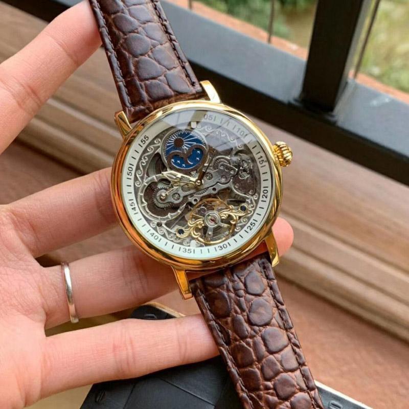 Tourbillon de zafiro automático esquelético del reloj de sol hombre de fase lunar para hombre de los relojes mecánicos de pulsera correa de cuero Top