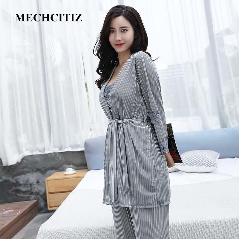 MECHCITIZ Inverno pigiami delle donne di impostare 3 cinghia sexy Pezzi del merletto del velluto a maniche lunghe autunno degli indumenti da notte femminile Pigiami