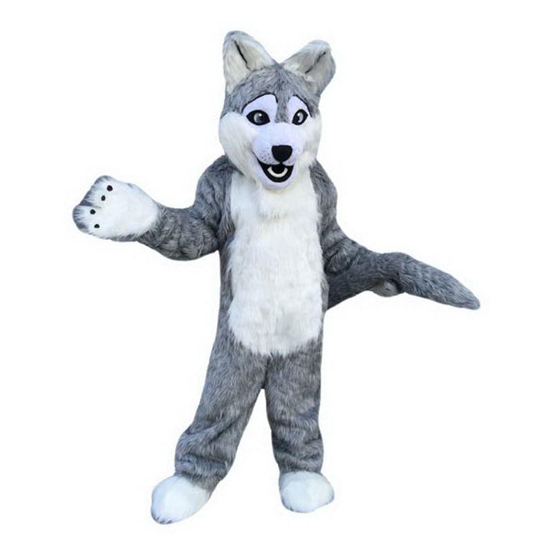 Lungo lupo grigio del costume della mascotte del fumetto dimensione dei caratteri per adulti Longteng (TM) 03