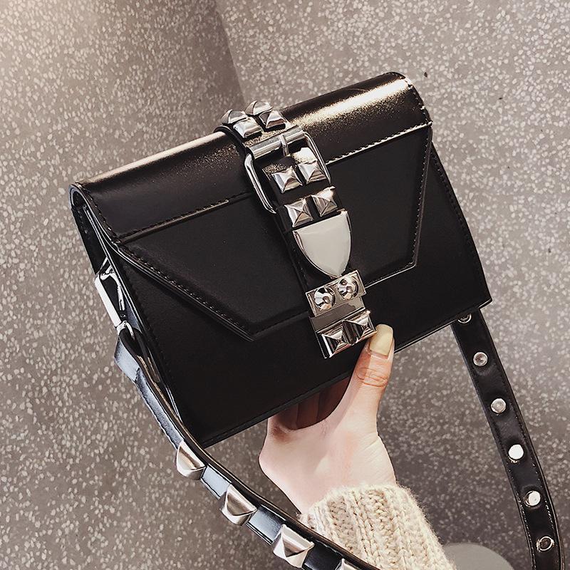 Sac Bandouliere Femme Luxe Women Rivet Small Shoulder Square Bag Clutch Ladies Handbag Crossbody Flap Bags Pochette Noire Femme Y190619 Leather Bags