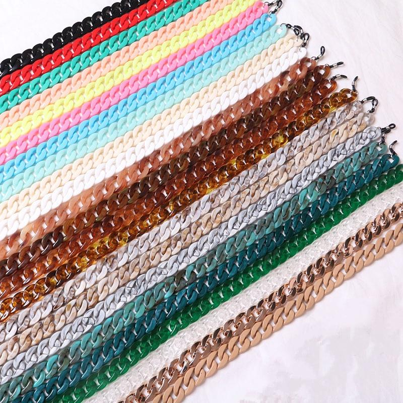 Chi Belle Small Size 16*20mm Acrylic Resin Chain Shoulder Bag Strap Accessories Women Fashion sunglasses Chains 23 colors Hot