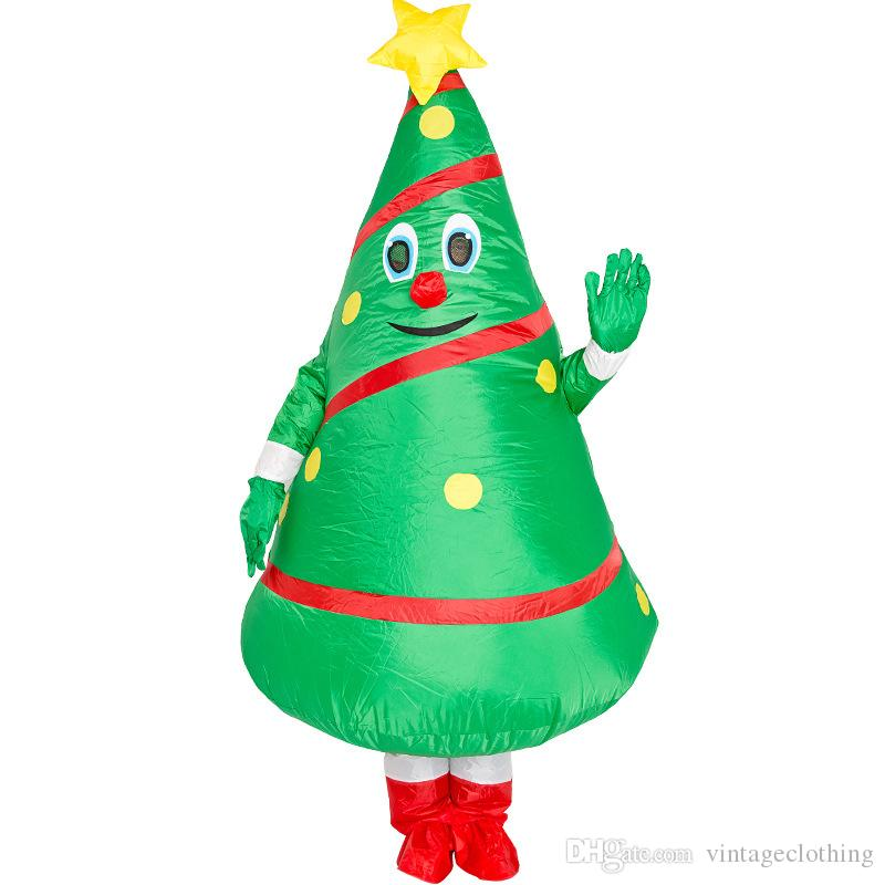 Disfraces Cosplay árbol de navidad divertidos muñeca de la historieta populares en Green Cosplay Polyeter de vestir Apoyos inflables Ropa
